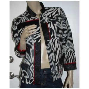 Chicos Patchwork Multi Print Jacket Size 1 S